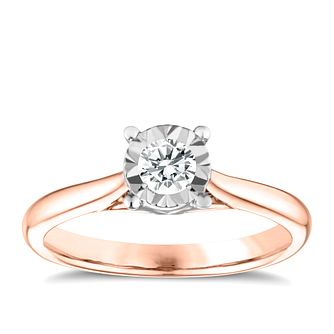 9ct Rose Gold 0.25ct Diamond Illusion Solitaire Ring - Product number 3648141