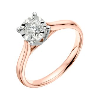 9ct Rose Gold 0.40ct Illusion Set Diamond Ring - Product number 3648982