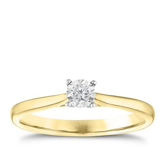 9ct Yellow Gold Diamond Illusion Set Solitaire Ring - Product number 3649261