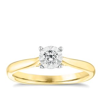 9ct Yellow Gold Diamond Illusion Solitaire Ring - Product number 3650421