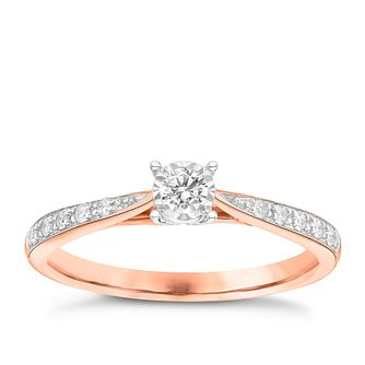 9ct Rose Gold 0.16ct Illusion Set Diamond Ring - Product number 3651525
