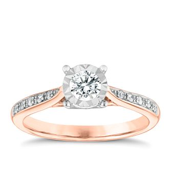 9ct Rose Gold 0.25ct Illusion Set Diamond Ring - Product number 3651738