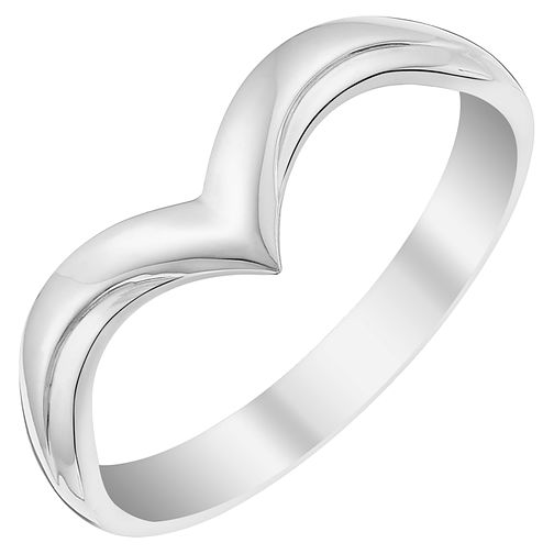 Ladies 18ct White Gold V Shaped Wedding Ring HSamuel