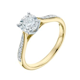 9ct Yellow Gold 0.40ct Illusion Set Diamond Ring - Product number 3653927