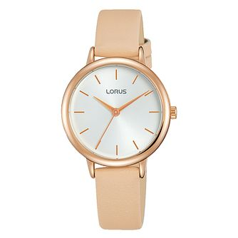 Lorus Ladies' Rose Gold Plated Nude Leather Strap Watch - Product number 3654087