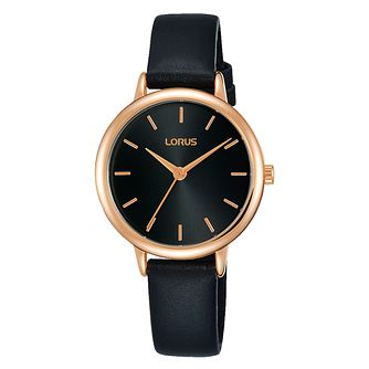 Lorus Ladies' Rose Gold Plated Black Leather Strap Watch - Product number 3654117