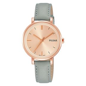Pulsar Ladies' Rose Gold Plated Grey Leather Strap Watch - Product number 3654346