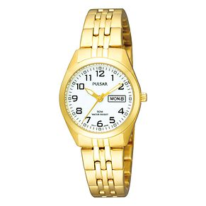 Pulsar Ladies' White Dial Gold Plated Bracelet Watch - Product number 3654427