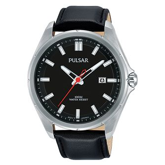 Pulsar Men's Black Dial Black Leather Strap Watch - Product number 3654478