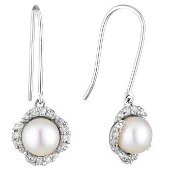 9ct white gold freshwater pearl & diamond flower earrings - Product number 3661210