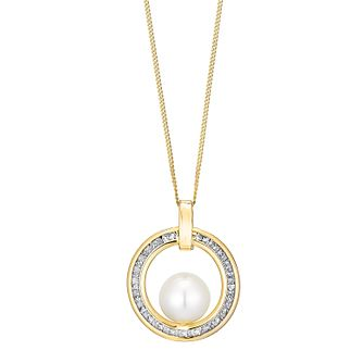 9ct yellow gold culture freshwater pearl circle pendant - Product number 3662179