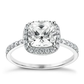 9ct White Gold Cushion Cut Cubic Zirconia Halo Ring - Product number 3663027