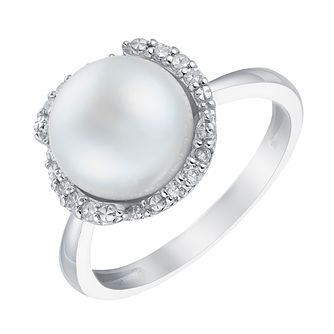 9ct white gold cultured freshwater pearl ring - Product number 3663914