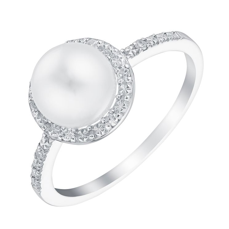 9ct white gold cultured freshwater pearl  diamond ring - Product number 3664058
