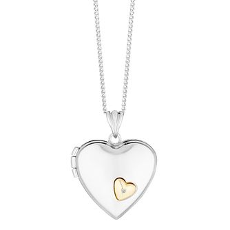 Silver and 9ct gold diamond locket - Product number 3667030