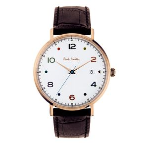 Paul Smith Gauge Men's Rose Gold Plated Brown Strap Watch - Product number 3669475