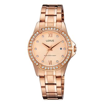 Lorus Ladies' Rose Gold Crystal Dial Watch - Product number 3669580