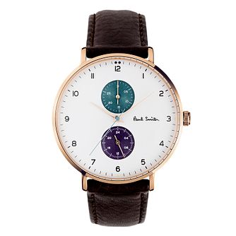 Paul Smith Track Men's Rose Gold Plated Brown Strap Watch - Product number 3670155