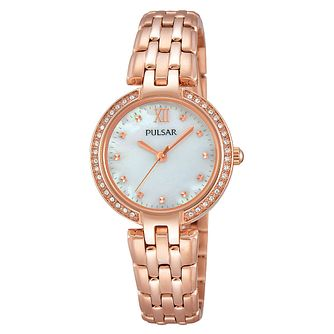 Pulsar Ladies' Stone Set Rose Gold-Plated Bracelet Watch - Product number 3671127