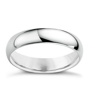 9ct White Gold 4mm Extra Heavy D Shape Ring - Product number 3671429