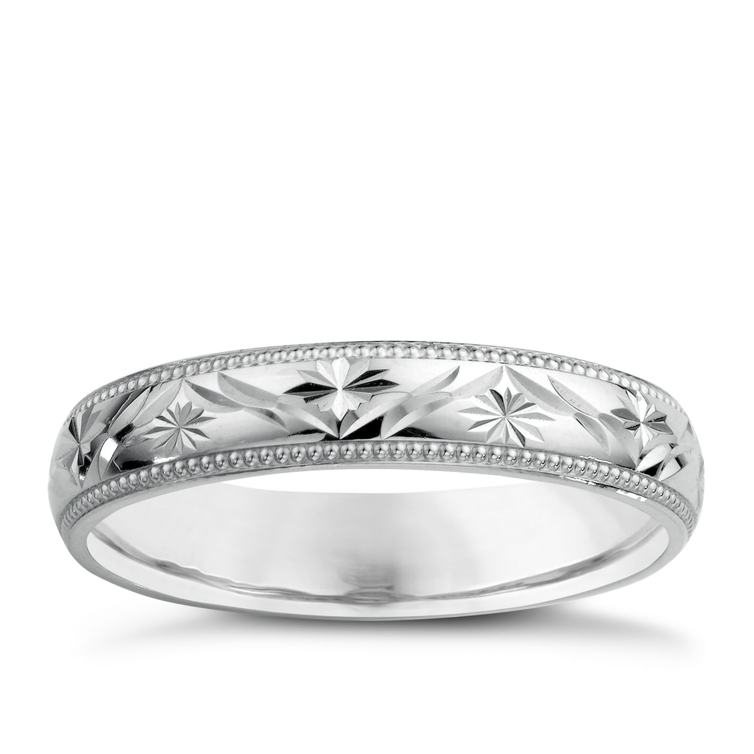 9ct White Gold La s Patterned Wedding Ring