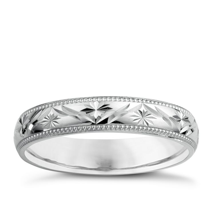 9ct White Gold Ladies' Patterned Wedding Ring - Product number 3671771
