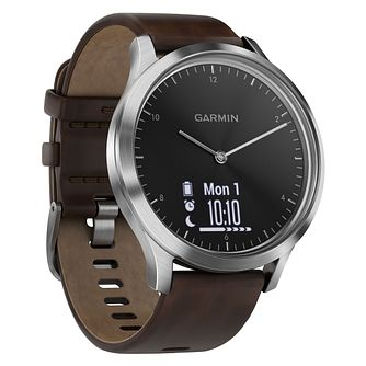 Garmin Vivomove Men's Brown Leather Strap Smartwatch - Product number 3679500