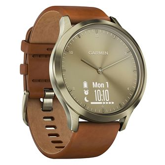 Garmin Vivomove HR Premium Tan Leather Strap Smartwatch - Product number 3679519