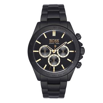 Hugo Boss men's ion-plated black and gold bracelet watch - Product number 3692035