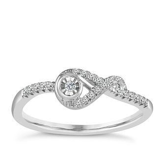 Interwoven Ladies' Sterling Silver 0.10ct Diamond Ring - Product number 3692612
