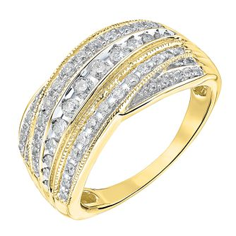 9ct gold 0.50ct diamond five row crossover ring - Product number 3693171