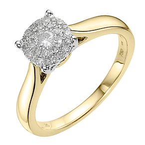 18ct Yellow Gold 0.25ct Diamond Cluster Ring - Product number 3695387