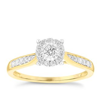 9ct Yellow Gold 0.25ct Diamond Illusion Set Cluster Ring - Product number 3695964