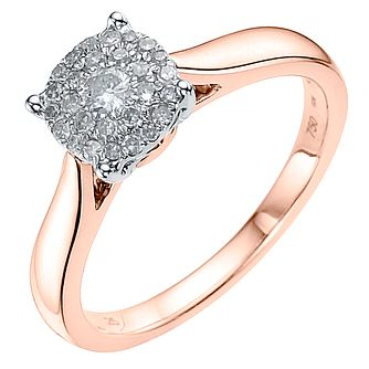 18ct Rose Gold 0.50ct Diamond Cluster Ring - Product number 3696510