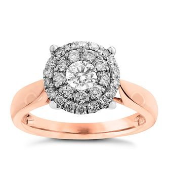18ct Rose Gold 0.75ct Diamond Cluster Ring - Product number 3698718
