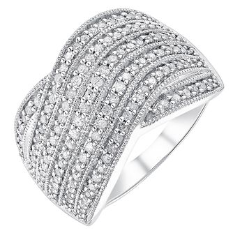 9ct white gold 0.50ct diamond seven row crossover ring - Product number 3701433