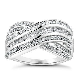 18ct white gold 0.50ct diamond five row crossover ring - Product number 3702146