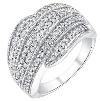 18ct white gold 0.50ct diamond wave crossover ring - Product number 3702413