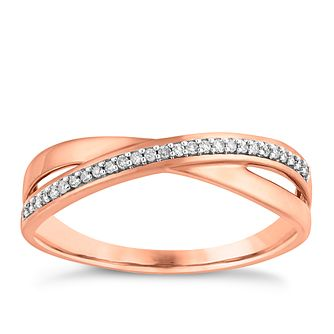 9ct rose gold diamond ring - Product number 3706206