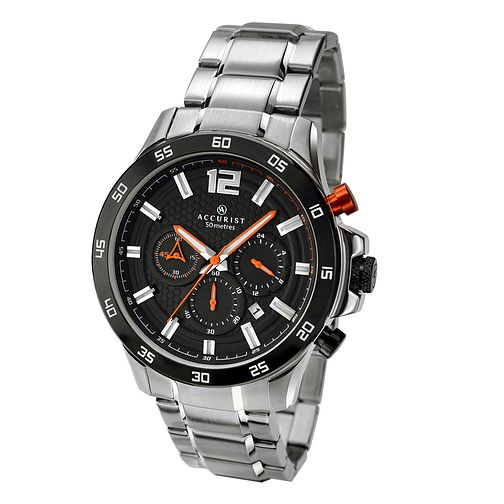 Accurist Men's Black Dial Stainless Steel Bracelet Watch - Product number 3709086