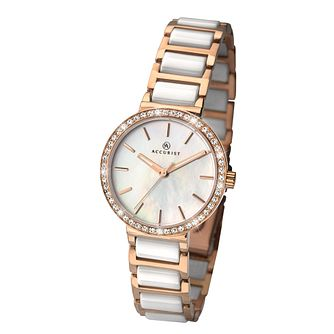Accurist Ladies' Two Colour Ceramic Bracelet Watch - Product number 3709108
