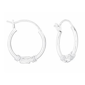 Sterling Silver Small Rope Effect Creole Hoop Earrings - Product number 3717348