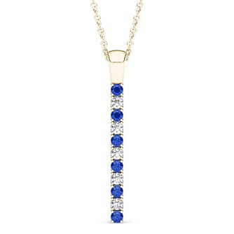 Line of Love 9ct gold 0.12ct diamond & sapphire pendant - Product number 3718239