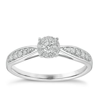 9ct white gold 0.25ct halo cluster diamond ring - Product number 3722511