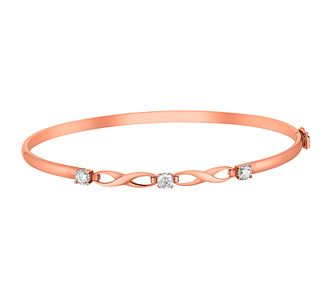 9ct Rose Gold Cubic Zirconia Set Figure Of 8 Bangle - Product number 3728145