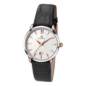 Accurist Ladies' Round White Dial Black Leather Strap Watch - Product number 3732045