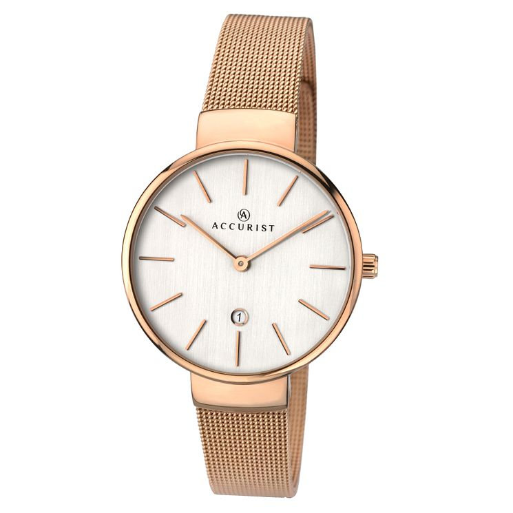 Accurist Ladies' Rose Gold Plated Mesh Bracelet Watch | H ...