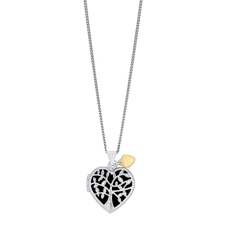 "Sterling Silver & 9ct Gold Tree Of Life Design 18"" Locket - Product number 3733173"