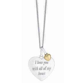 "Sterling Silver & 9ct Gold Heart Pendant With 18"" Chain - Product number 3734803"