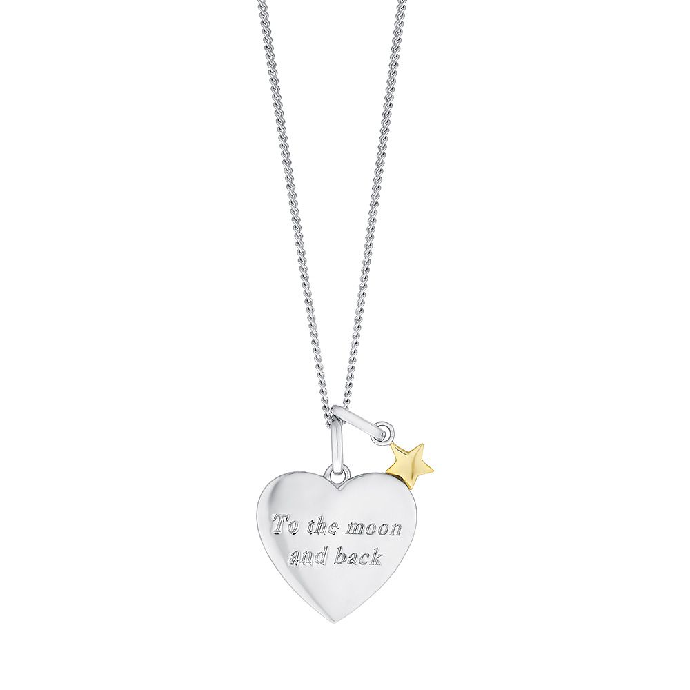 Sterling silver 9ct gold moon stars heart pendant hmuel sterling silver 9ct gold moon stars heart pendant product number 3734811 mozeypictures Images